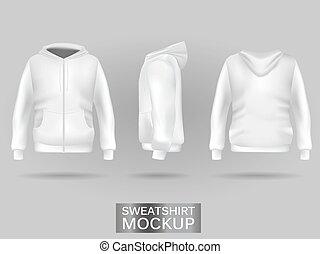 White sweatshirt hoodie template