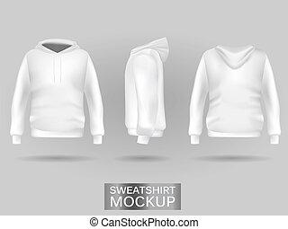 White sweatshirt hoodie template in three dimensions