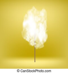 White Sweet Cotton Candy on Yellow Soft Background