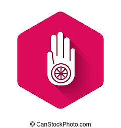 White Symbol of Jainism or Jain Dharma icon isolated with long shadow. Religious sign. Symbol of Ahimsa. Pink hexagon button. Vector Illustration