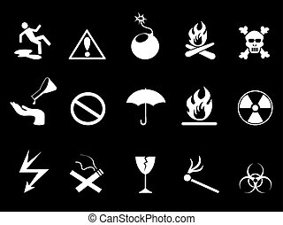 white Symbols - Hazard warning icons set