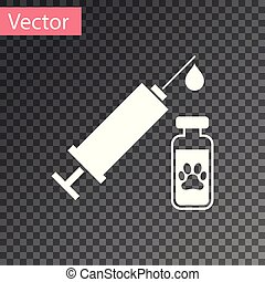 White Syringe with pet vaccine icon isolated on transparent background. Dog or cat paw print. Vector Illustration