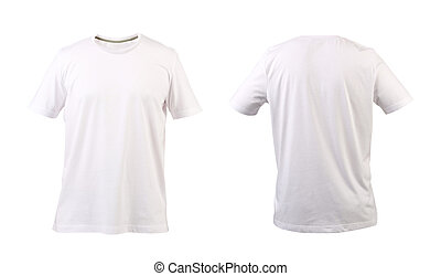 White t-shirt. Front and back. White background.