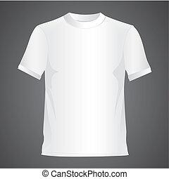 White T-shirt, isolated on black background, vector illustration