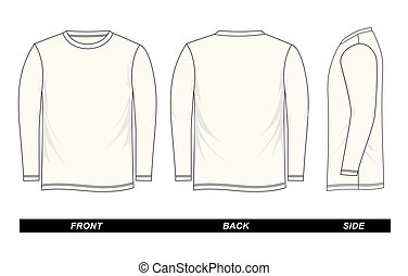 white t-shirt template long-Sleeve, front, back, side