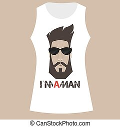 white t-shirt with print of a bearded man,