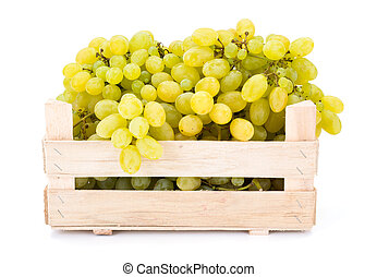 White table grapes (Vitis) in wooden crate