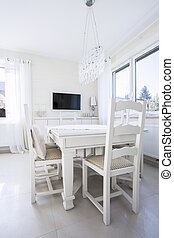 White table in dining room