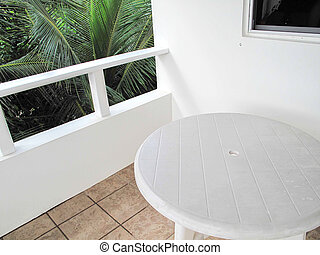 White Table on a Balcony
