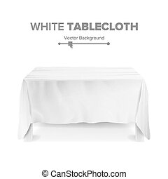 White Table With Tablecloth Vector. Empty 3D Rectangular Table Isolated. Illustration