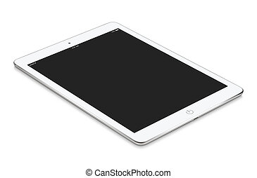 White tablet computer with blank screen mockup lies on the surfa