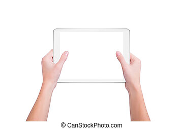 White tablet in the hands of a girl