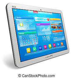 White tablet PC isolated on white background *** I confirm that design of this tablet PC, its interface and photo used here are MY OWN, and all text labels are fully abstract.