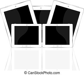 White tablet PC set isolated on white reflective background
