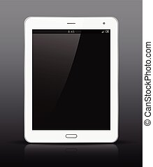 White tablet PC with black screen