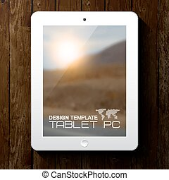 White tablet PC with blurred background.