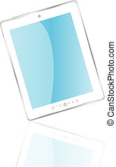white tablet pc with reflection - Vector white tablet pc ...