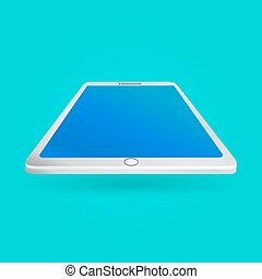 White tablet with empty screen isolated on blue background. Perspective view. Vector illustration EPS10