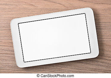White tablet with white screen on wood table
