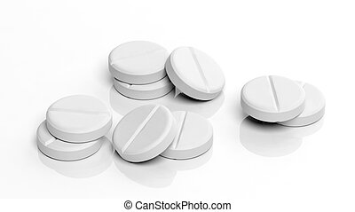 White tablets, isolated on white background.