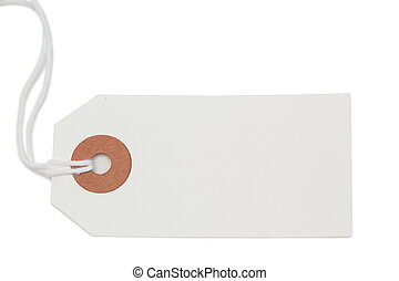 White tag isolated on a white background