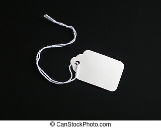 White tag on Black - White Tag used for pricing or tag sales...