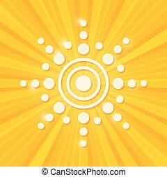 Paper Sun on Stripe Yellow Background.