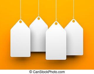 White tags on orange background