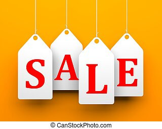 White tags with word sale on orange background