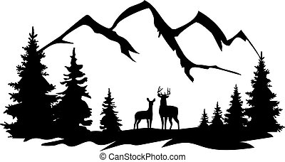 white tail and doe - vector wilderness with forest, ...