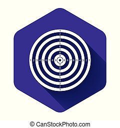 White Target sport for shooting competition icon isolated with long shadow. Clean target with numbers for shooting range or pistol shooting. Purple hexagon button. Vector Illustration