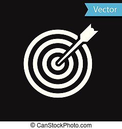 White Target with arrow icon isolated on black background. Dart board sign. Archery board icon. Dartboard sign. Business goal concept. Vector Illustration