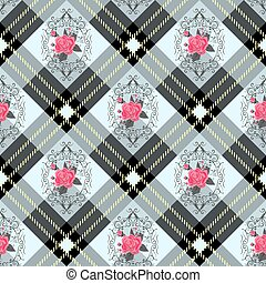 White tartan plaid and flowers pattern on checkered background for textile