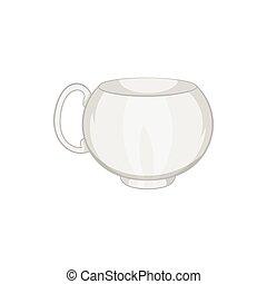 White tea cup icon, cartoon style