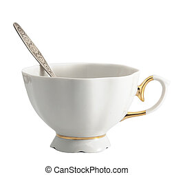 White tea cup isolated on the white background