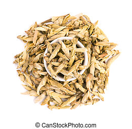 White tea isolated on a white background. Buds from the old trees of Puer. Closeup of chinese Yabao tea. Organic tea. Top view. Close up.