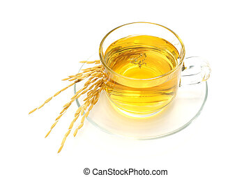 White Tea with Gamma-Cryzanol Extract on white background