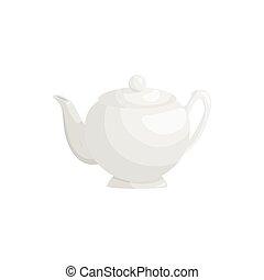 White teapot icon, cartoon style