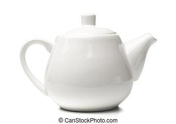 white teapot isolated on white background