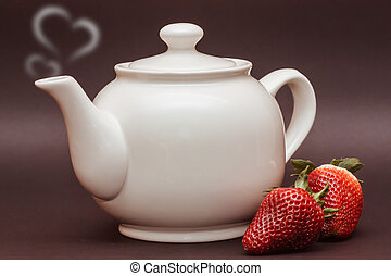 teapot - white teapot with hearts and strawberries on black...