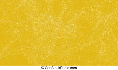 White technology lines connectivity animation on yellow...