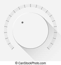 White Technology Volume Knob - White technology music button...
