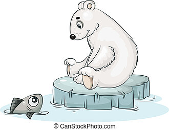 white teddy bear and fish