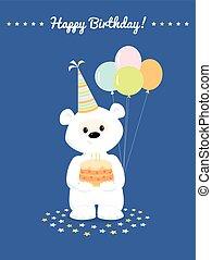 white teddy bear birthday card - Cute white teddy bear,...