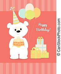 white teddy bear birthday presents - Vector illustration of...
