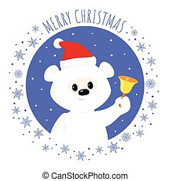 white teddy bear christmas bell square