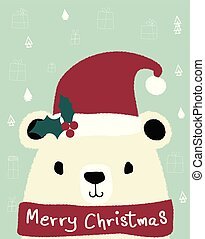 white teddy bear wears red santa clause hat, merry Christmas card