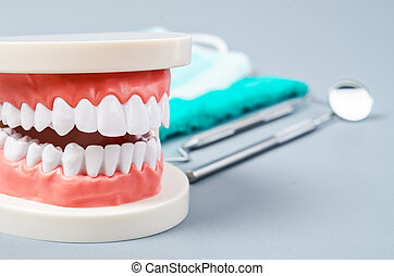 White teeth and dental instruments.