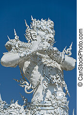 Close up detail of the White Temple Chiang Rai Northern Thailand