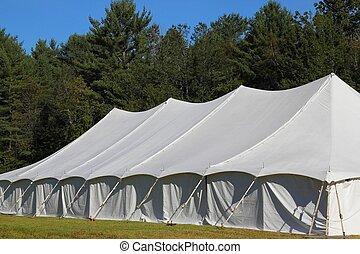 white tent angle view